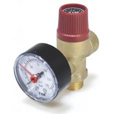 """Предохранительный клапан с манометром 1/2"""" НР TIM BL4802-3 (3 бар), красный"""