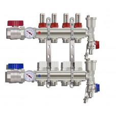 """Коллекторная группа TIM КА004 1"""" ВР-ВР, 4 отвода 3/4"""", расходомер, воздухоотводчик, сливной кран, торцевой кран, термометр"""