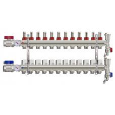 """Коллекторная группа TIM КА012 1"""" ВР-ВР, 12 отводов 3/4"""", расходомер, воздухоотводчик, сливной кран, торцевой кран, термометр"""