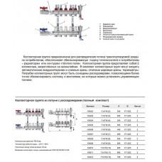 """Коллекторная группа TIM КА003 1"""" ВР-ВР, 3 отвода 3/4"""", расходомер, воздухоотводчик, сливной кран, торцевой кран, термометр"""