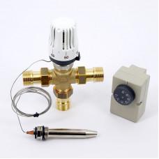 """Клапан зональный трехходовой с термоголовкой, погружным датчиком и контактным термостатом EMMETI 3/4""""Н"""
