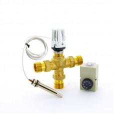 """Клапан зональный трехходовой с термоголовкой, погружным датчиком и контактным термостатом EMMETI 1""""Н"""