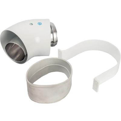 Stout SCA-6010-000045 элемент дымохода отвод коаксиальный 45° Ø60/100, п/м уплотнения и хомут в комплекте (лого)