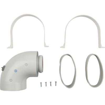 Stout SCA-6010-210190 элемент дымохода Ø60/100 адаптер для котла угловой 90° коаксиальный (совместимый с Baxi,Viessmann)(лого)