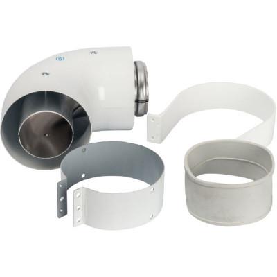 Stout SCA-6010-230190 элемент дымохода Ø60/100 адаптер для котла угловой 90° коаксиальный (совместимый с Vaillant, Protherm NEW)(лого)