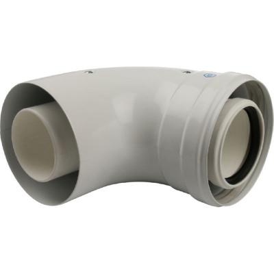 Stout SCA-8610-010090 элемент дымохода конденсац. угол 90° Ø60/100 м/п с инспекционным окном PP-FE
