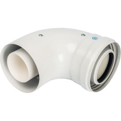 Stout SCA-8610-210090 элемент дымохода конденсац. колено 90°/ адаптер 90° Ø60/100 м/п PP-FE (совместим. с Baxi,Viessmann)