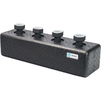 Stout SDG-0016-004002 Стальной распределительный коллектор 2 отопительных контура. В теплоизоляции DN 25