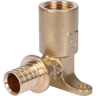 """Stout SFA-0032-002012 Угольник настенный с креплением с длинным нарезным патрубком 20xRp 1/2"""" для труб из сшитого полиэтилена аксиальный"""
