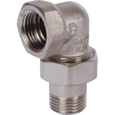 """Stout SFT-0057-000012 Разъемное угловое соединение """"американка"""" ВН, уплотнение под гайкой o-ring кольцо, никелированное 1/2"""