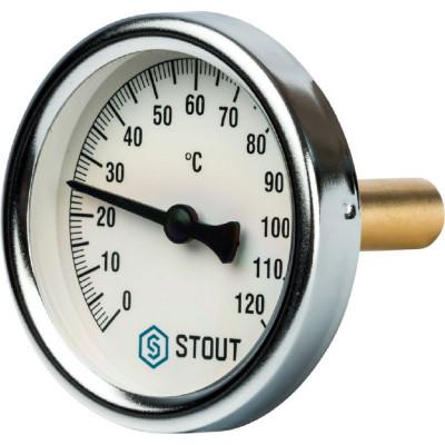 """Stout SIM-0001-635015 Термометр биметаллический с погружной гильзой - Корпус Ø 63 мм, гильза 50 мм, Диапазон 0...120°С, Размер 1/2"""""""
