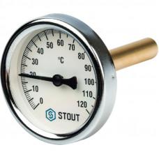 """Stout SIM-0001-637515 Термометр биметаллический с погружной гильзой - Корпус Ø 63 мм, гильза 75 мм, Диапазон 0...120°С, Размер 1/2"""""""
