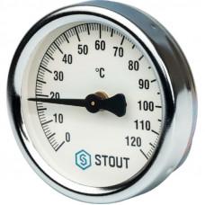 """Stout SIM-0004-630015 Термометр биметаллический накладной с пружиной - Корпус Ø 63 мм, Диапазон 0...120°С, Размер 1/2"""""""