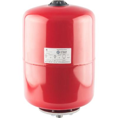 Stout STH-0004-000018 Мембранный расширительный бак с опорными стойками для отопление 18 л. (цвет красный)