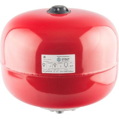 Stout STH-0006-000024 Мембранный расширительный бак с опорными стойками для отопление 24 л. (цвет красный)