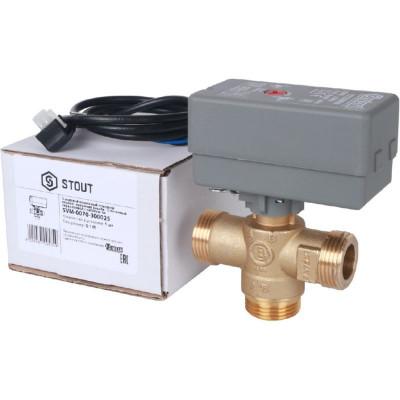 """Stout SVM-0070-300025 3-Ходовой зональный клапан, сервопривод 230V, с кабелем 1м., НР 1"""", Kv 8"""