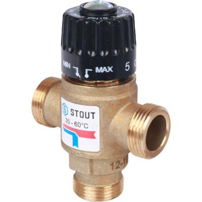 """Stout SVM-0120-166020 Термостатический смесительный клапан для систем отопления и ГВС 3/4"""" НР 35-60°С KV 1,6 м3/ч"""