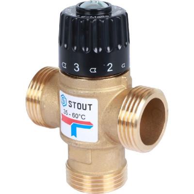 """Stout SVM-0120-166025 Термостатический смесительный клапан для систем отопления и ГВС 1"""" НР 35-60°С KV 1,6 м3/ч"""